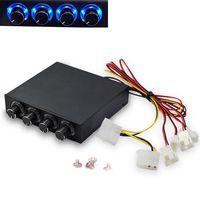 3.5 인치 PC HDD 4 채널 속도 팬 컨트롤러 블루/레드 LED 컨트롤러 전면 패널 컴퓨터 팬 X6HA