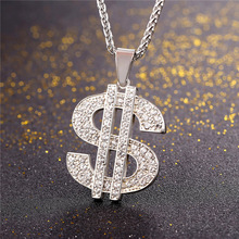 US Dollar Money Necklace & Pendant 316L Stainless Steel/Gold Color Chain For Women/Men Rhinestone Hip Hop Bling Jewelry P1003