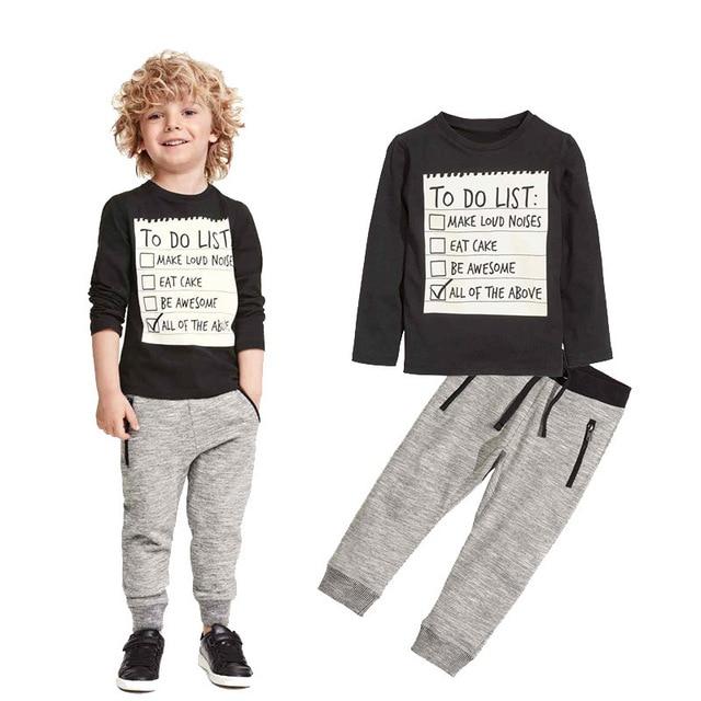 Boy Children's Sets Kids Clothes 2016 NEW Boys Suit 2Pcs Brand Long Sleeve Letters T-Shirt Pants Cotton Pullover Sportswear