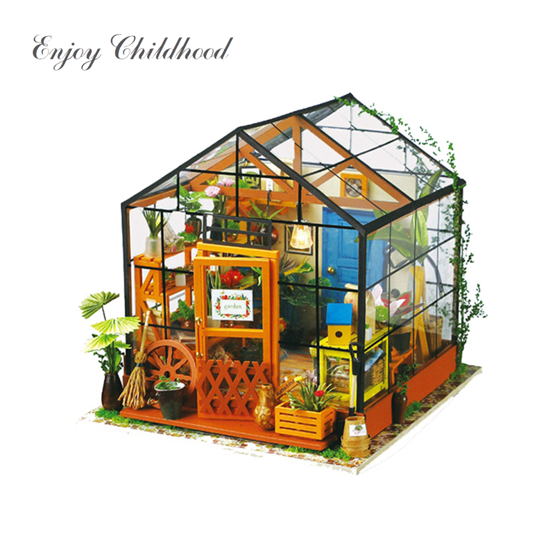 3D Wooden Dollhouse DIY Handmade Miniature With Furnitures Model Building Dollhouse Toys For Kids Kathy's Flower House Robotime diy dollhouse