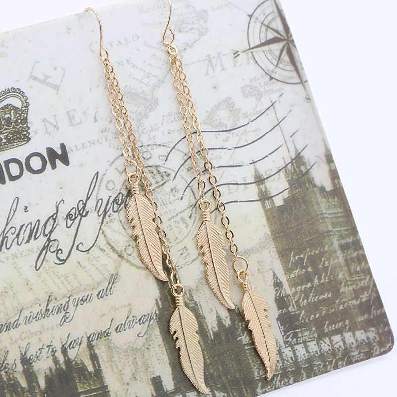 ผู้หญิงยาว Dangle ต่างหู Leaf Feather DROP Brincos Bijoux Boucle D'oreille เครื่องประดับต่างหู