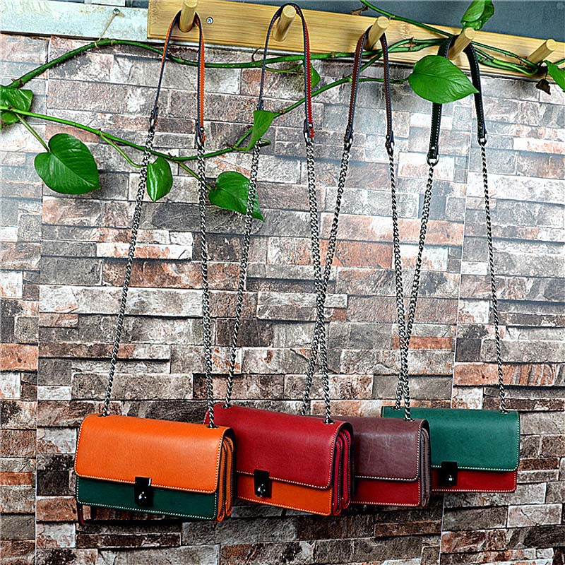 AETOO The first layer female bag cross section soft leather hit color vegetable tanned leather small bag shoulder bagAETOO The first layer female bag cross section soft leather hit color vegetable tanned leather small bag shoulder bag
