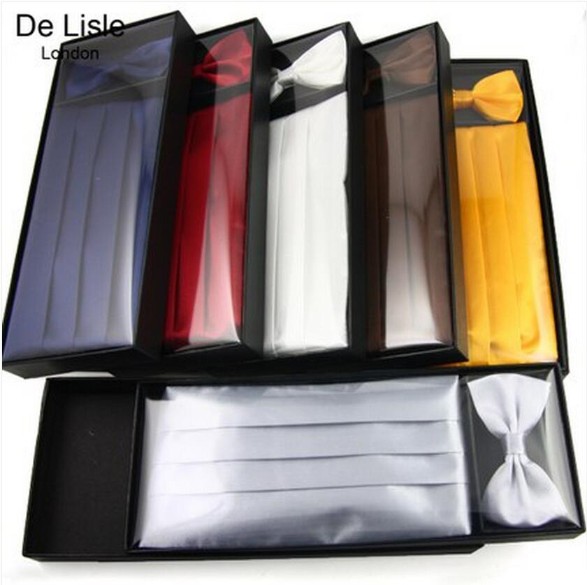 Premium Men's Satin Cummerbund Bowtie Set Formal Wedding Party Gift Packing Free Shipping - Factory Outlet