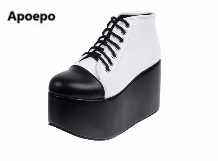 Apoepo brand Platform shoes black white Thick bottom sneakers women Punk style wedges boots women lace up high heels shoes 10 cm