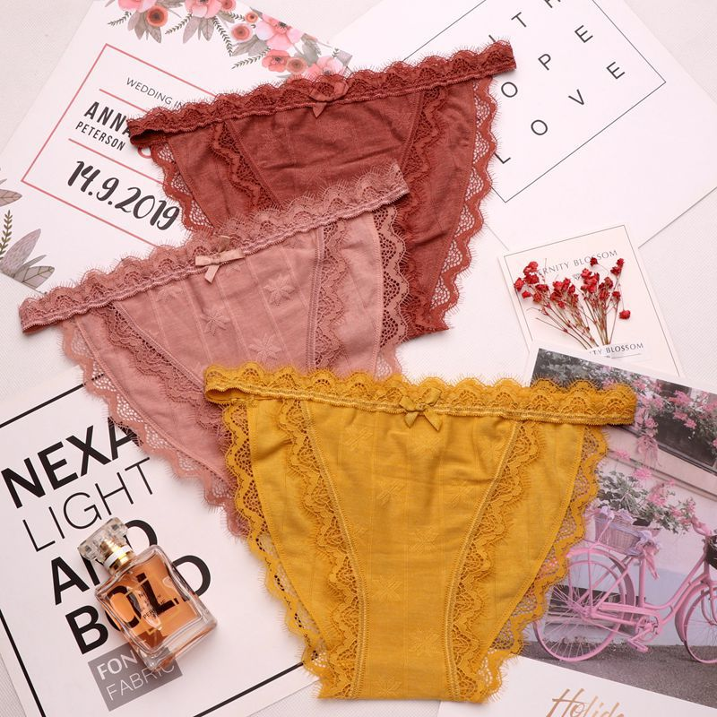 SP&CITY European Lace Embroidered Panties Women Sexy Solid Bow Briefs Ruffle Hollow Out Underwear Female Transparent Thongs
