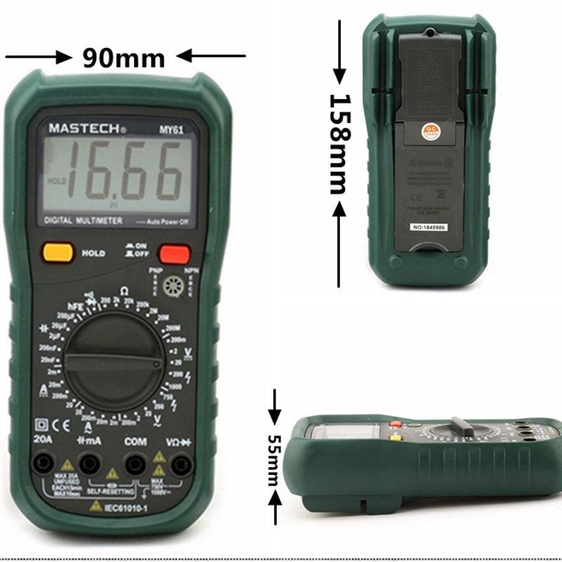 MASTECH MY61 Digital Multimeter DMM Frequency Capacitance Temperature Meter Tester w/ hFE Test Ammeter Multimetro Testers Meters  цены