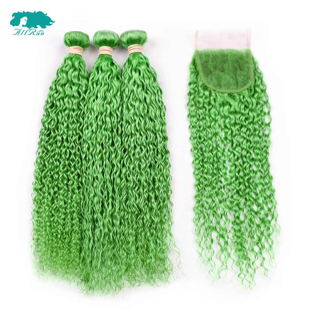 Hot Sale 134 Lace Frontal With Bundles Kinky Culry Green 3 Bundles