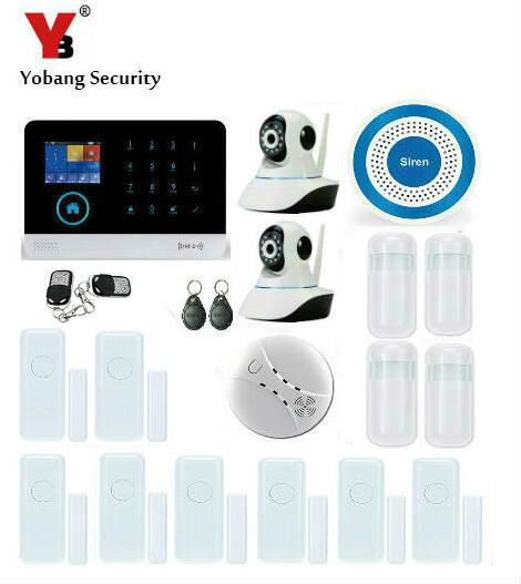 Special Price Yobang Security WIFI Wireless Blue Burglar Siren Security Alarm System For Home GSM GPRS Alarmes With Network Camera Monitor