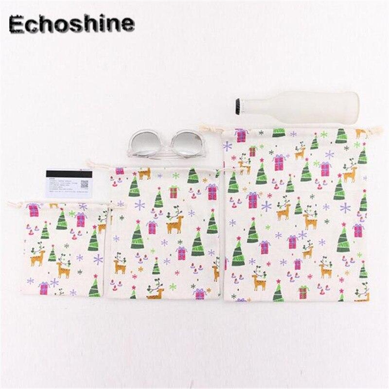 3PCS/SET Wholesale Cotton and Linen Fashion Christmas tree Printing Women Drawstring shopping Bag B05