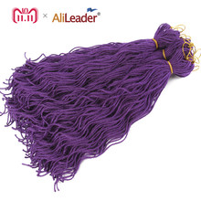 "Alileader 20""Synthetic Dreads 6Pack Soft Dread Braids kanekalon Purple Long Dreadlocks Hair Extensions Kinky Curly Crochet Hair(China)"