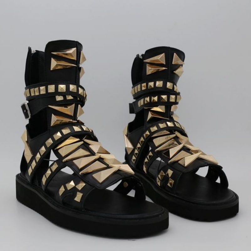 Punk Gothic Mens Leather Open Toe High Top Hollow Roman Gladiator Sandals Shoes