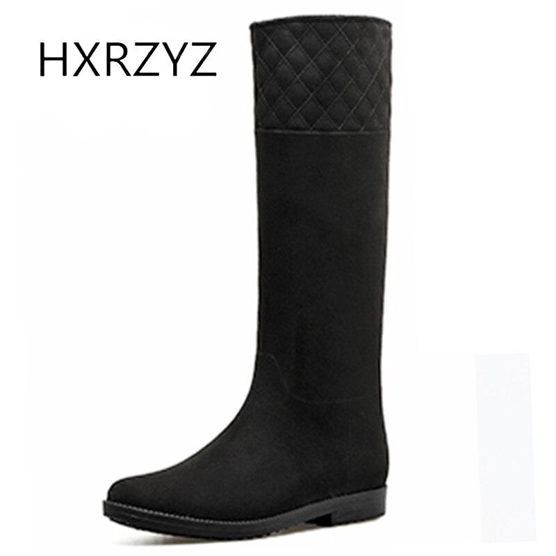 HXRZYZ женщин колено высокие сапоги замша черный дождь сапоги мода осень/зима скольжению резиновая подошва удобные женщины обувь