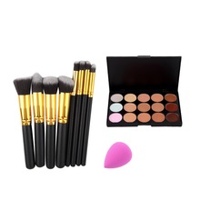 Top Quality 15 Color Concealer Palette + 8pcs Make Up Brushes Kit +  Sponge Puff  Makeup Contour Palette