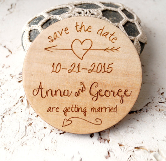 Save The Date Magnets Wedding Dates Rustic Wooden Magnet Personalized Round Wood In Event Party From Home