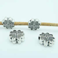 20 Pcs for 3mm round leather Antique Silver Clover beads with draw jewelry supplies jewelry finding D-5-3-18