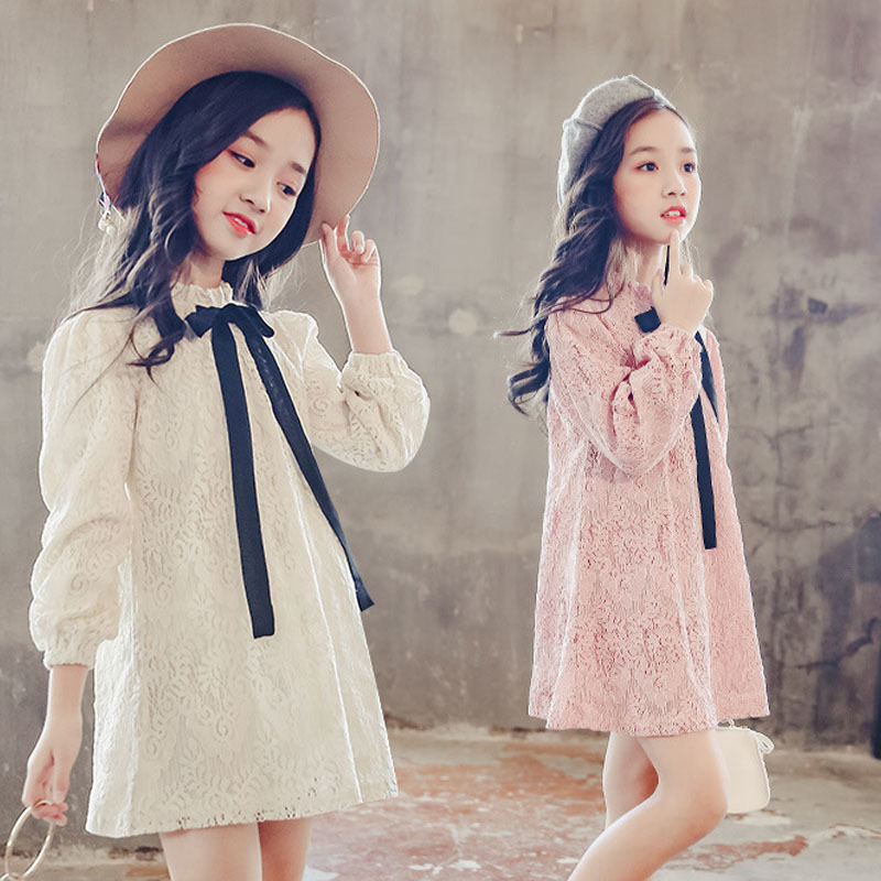 pink beige school lace autumn 2018 girl long sleeve dress Little Girls clothing Dress for Teenage Girl age 6 8 10 12 14 years 2017 casual sleeveless a line dots girl dress with sashes 12 13 14 15 16 18 20 years big sizes children clothing teenage dress