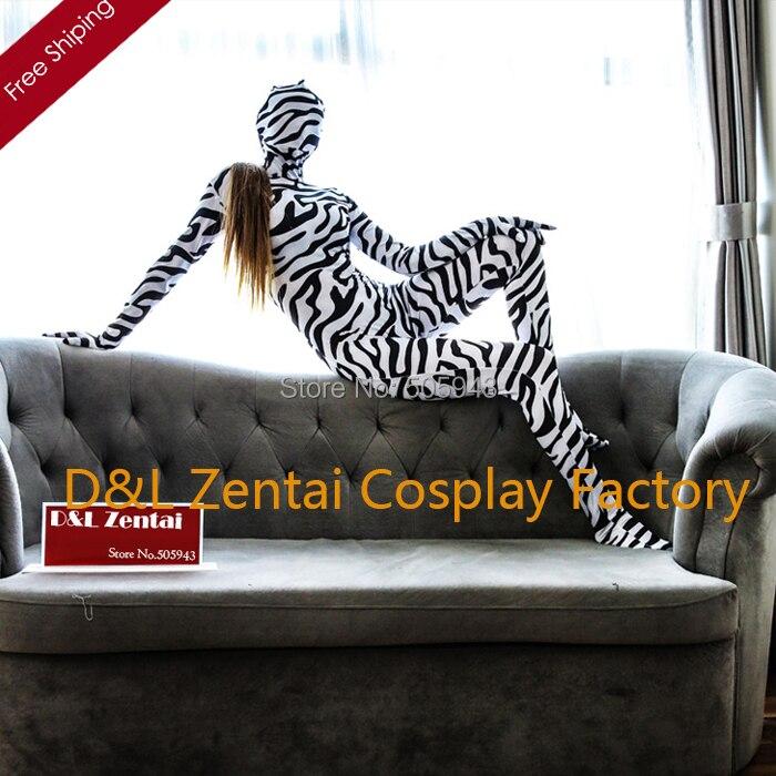Free Shipping DHL New Full Body Animal Zebra Print Zentai Body Suit Unisex Lycra Zentai Suit LCBM102