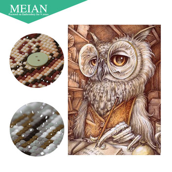 Meian, w kształcie specjalnym, diament haft, zwierząt, sowa, pełne, DIY, diament malowanie, ściegiem krzyżykowym, 3D, diament mozaika, obraz z koralików, dekoracje