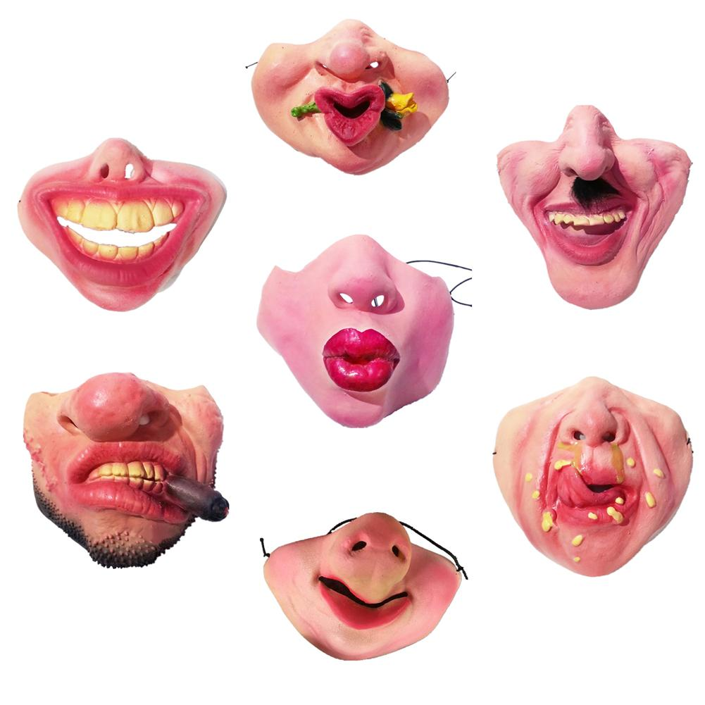 Halloween Latex Half-face Masks Costume Party Funny Masks For Adults Hallowmas Lower Half Face Mask Costume Party 2018 Newest