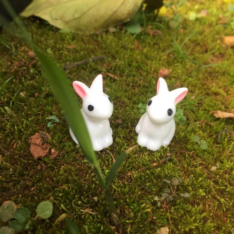 Lovely Miniature 10PCS Mini Resin Rabbit Garden Fairy Ornament Flower Plant Pot Home Figurine Animal Decor