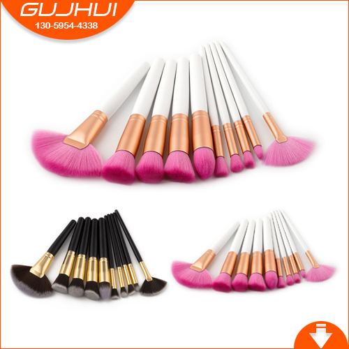 10pcs Makeup Brushes Makeup Kits Black Gold Fan Makeup Brush Sets Beauty Tools Eye Brush Make-up Tools GUJHUI 5 makeup brushes mermaid makeup brushes make up tools suit sets brush makeup gujhui rhyme color