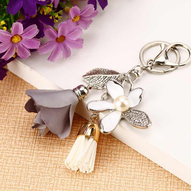 RE Pano Flor Rosa Cristal Keychain Chave Do Carro Cadeia de Borla Mulheres Saco Encantos para acessórios chaves Chiffon Borlas chave anéis a0740