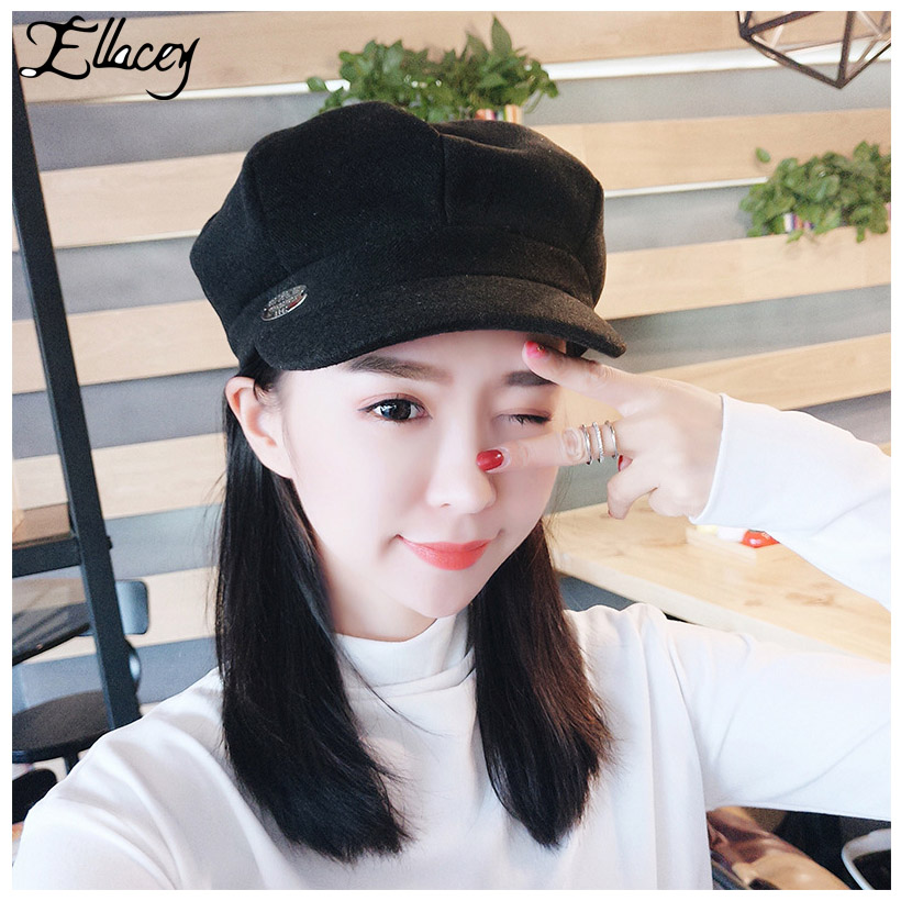 Methodical Ellacey Autumn Winter Octagonal Hats Retro Faux Cashmere Hats For Women Youth Fashion Womens Caps Painter Female Hat Octagonal Men's Newsboy Caps Apparel Accessories