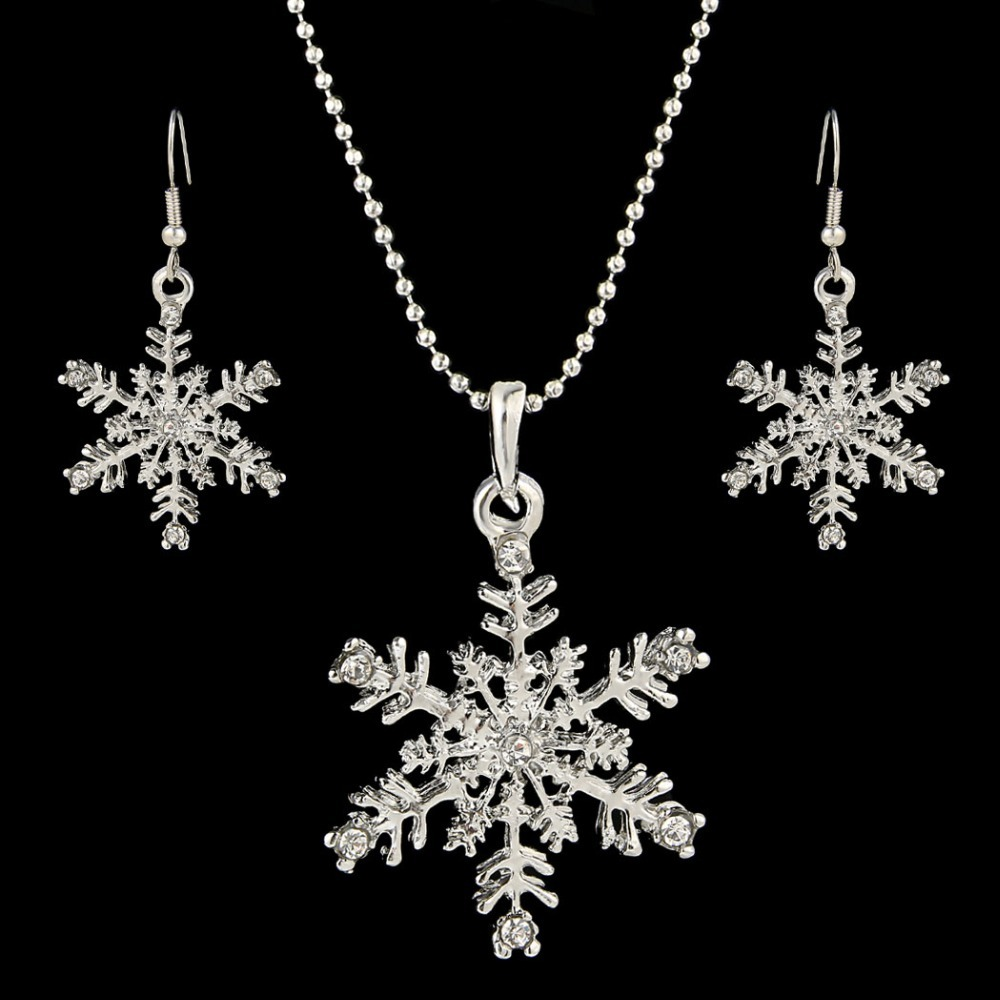 Bella Fashion Winter Snowflake Bridal Jewelry Set Austrian Crystal