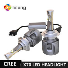Inlong X70 LED Bulb With CREE H4 LED H7 D4S H1 H8 H9 D2S H11 9005 D3S 9006 HB4 HB3 D1S Car Headlight Bulbs 6000K Fog Lights 12V(China)