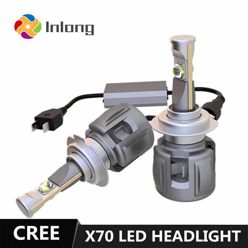 Inlong X70 LED Bulb With CREE H4 LED H7 D4S H1 H8 H9 D2S H11 9005 D3S 9006 HB4 HB3 D1S Car Headlight Bulbs  6000K Fog Lights 12V