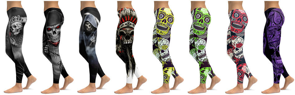 Skull Leggings Yoga Pants Women Sports Pants Fitness Running Sexy Push Up Gym Wear Elastic Slim Workout Leggings 13