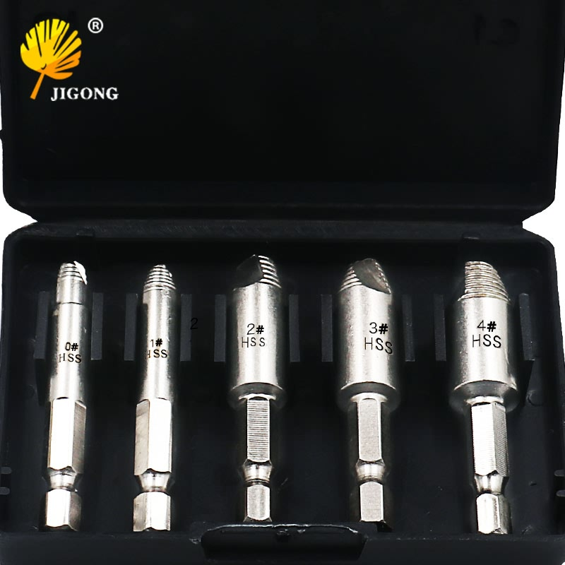 цена на JIGONG 5Pcs Damaged Screw Remover 1/4Hex Shank Hss Broken Breakage Head Stripped Screw Bolt Remover Extractor