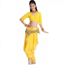 2016 Belly Dance Skirt Hip Scarf Freeshipping Women All Code Set 6 Short-sleeve Top Rotating Pants Chain Necklace Bracelet 2
