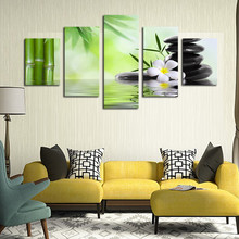 5 Piece Canvas Wall Art Green Bamboo Flowers Pictures Abstract Oil Painting For Living Foom Print Framed