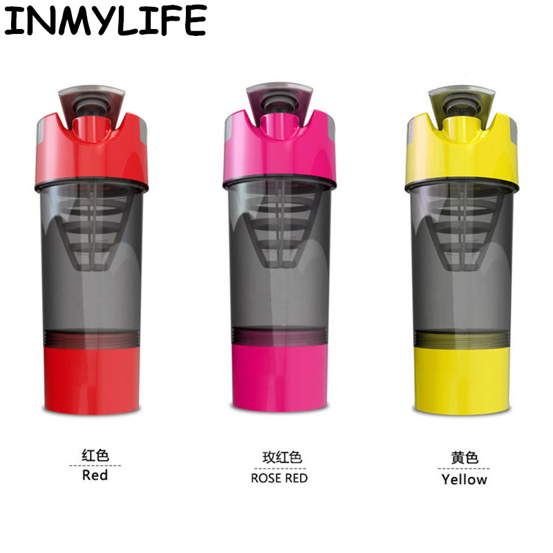 INMYLIFE Multicolors Shaker bottles Sports Water fitness Bottles Protein Powder Blender bottle Nutrition BPA-FREE 500ML/16oz