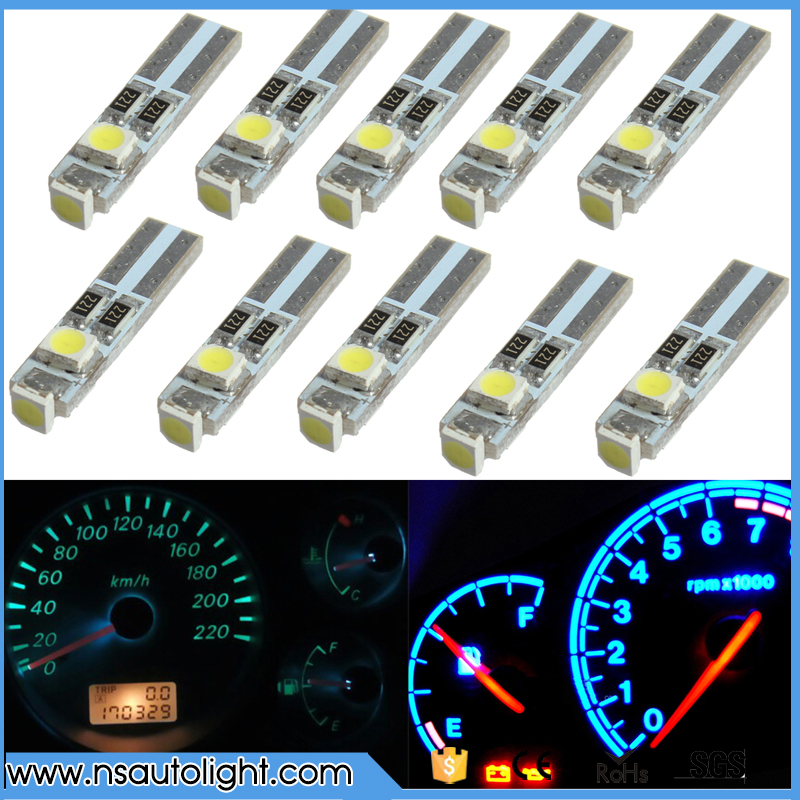 10pcs/lot Car Auto LED T5 3 led smd 3528 Wedge LED Light Bulb Lamp 3SMD Instrument Light White red yellow blue green цена и фото