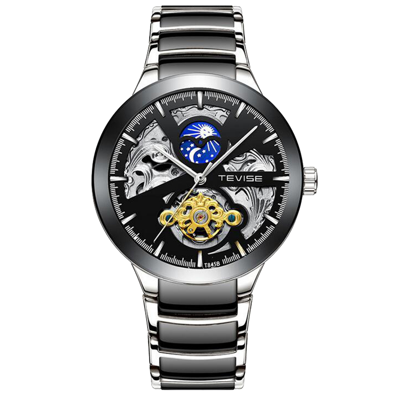 HTB1Tj55a8iE3KVjSZFMq6zQhVXap Shellhard1pc Men's Luxury Black Skeleton Leather Watch Sport Automatic Mechanical Stainless Steel Wrist Watch Montre Homme