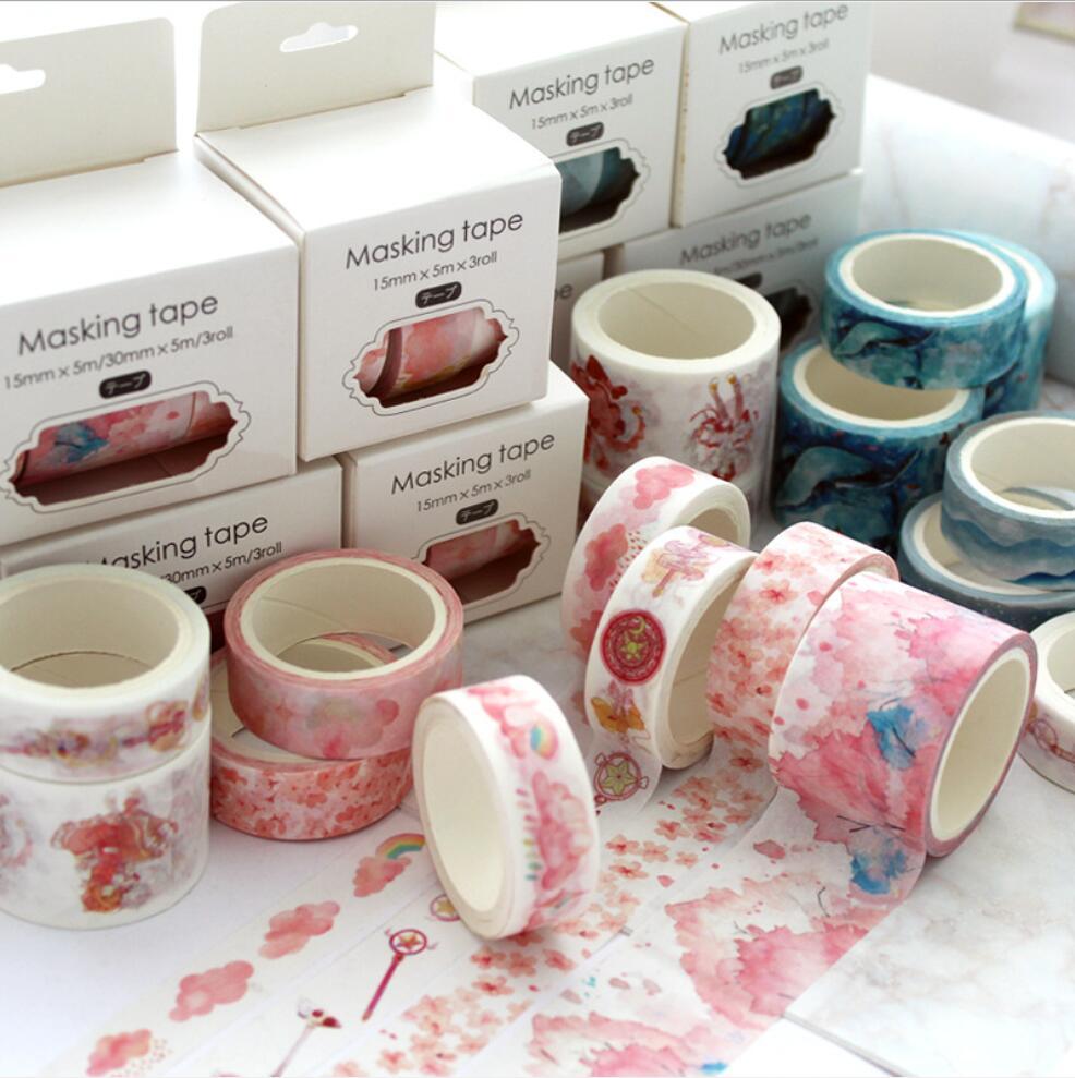3 Pcs/pack Colorful Magic Sakura Cloud Van Gogh Washi Tape Adhesive Tape DIY Scrapbooking Sticker Label Masking Tape