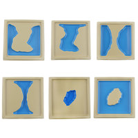 Montessori Educational Toy Land And Water Form Trays(6 Pcs) Montessori Materials Sensorial Wooden Toys For Children C746Z