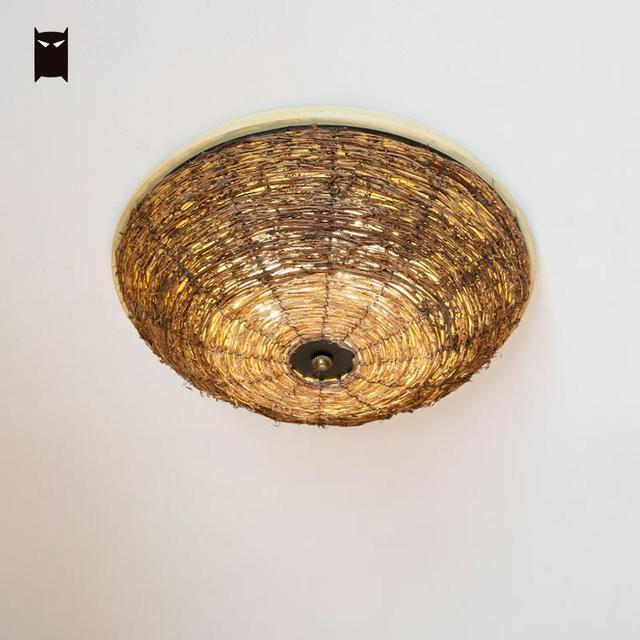 Wood Wicker Rattan Round Shade Ceiling Light Fixture Handmade Rural