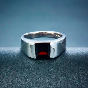 Image 3 - Naturalny czarny granat Unisex pierścionek 925 srebro 1.9 karaty naturalny kamień szlachetny pierścionki Fine Jewelry klasyczny Design na prezent