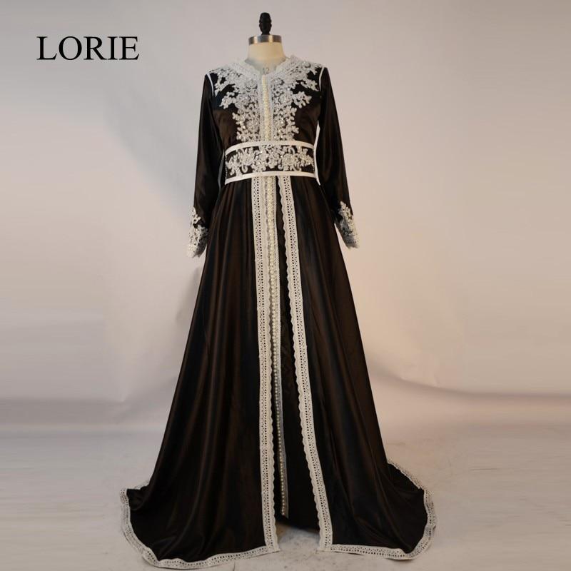 Dubai Kaftan Long Sleeve   Evening     Dress   2018 Robe De Soiree Lace Beaded Black Muslim Prom   Dresses   Long Abaya In Dubai Caftan