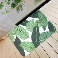 Super Flannel Door Mat For Entrance Door With Green And Blue Leaves Printed Cheap Doormat Mini