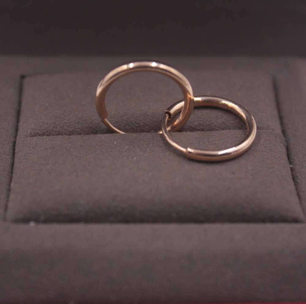 NEW Pure 18K Rose Gold Earrings Perfect Carved Bead Woman's Lucky Hoop 12mmDia Fashion Jewelry