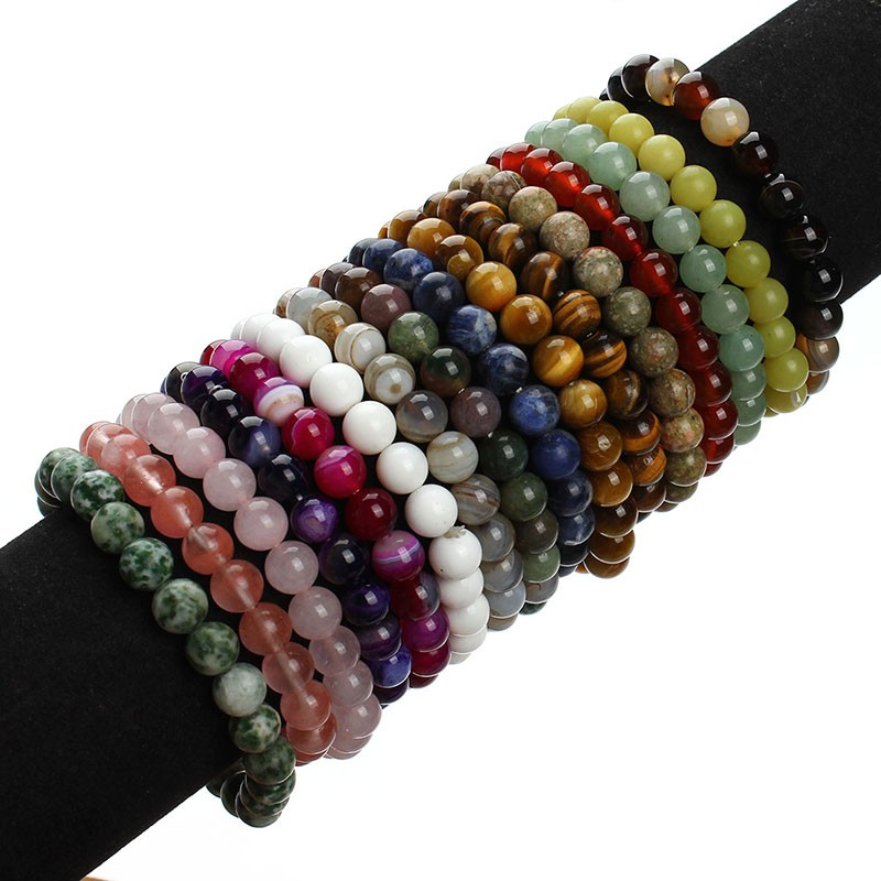 17 New Summer Style Natural Stone Beads Bracelet Women Men Pink Blue White Yellow Red Beaded Stretch Bracelets Bangles F2852 13