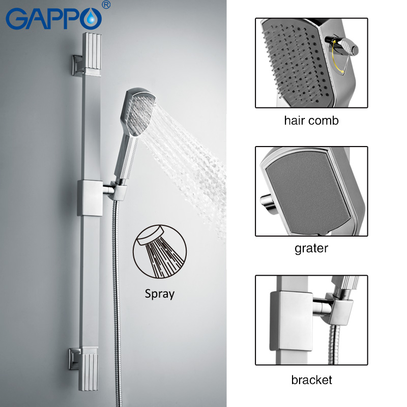 GAPPO 1Set Top quality Wall Mount Hand Shower set Stainless steel Slide Bar with Massage hand held shower in 1.5Meter hose G8004 hand in hand
