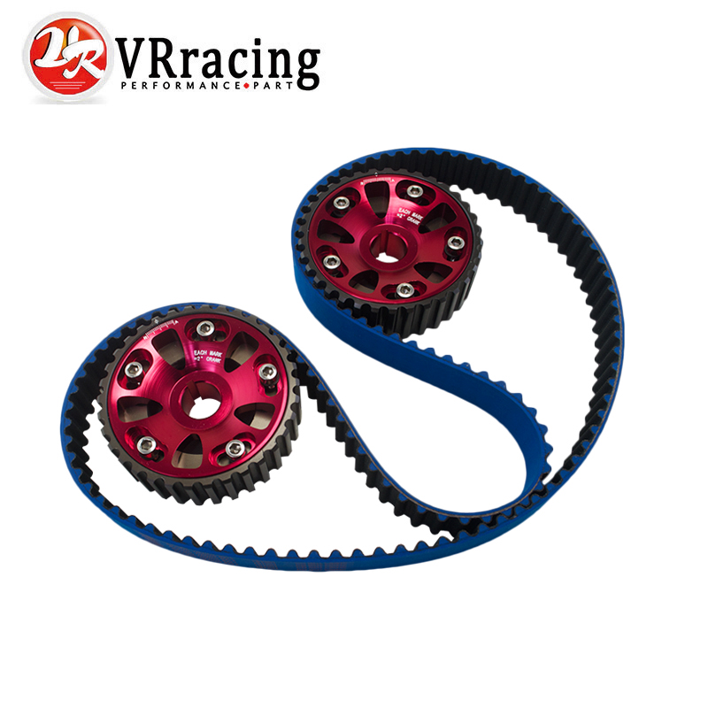 VR - HNBR Racing Timing Belt Blue + Aluminum Cam Gear Red FOR B16A 99-00 Civic Si 94-97 Del Sol VTEC DOHC VR-TB1001B+6532R vr racing hnbr racing timing belt