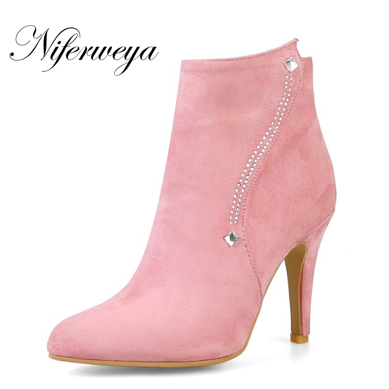 Primavera Tacco Size autunno pink Lampo Big Apricot black Donna 32 Tacchi Sottile Zapatos Della Alti Sexy Punta Rosa Mujer A Flock 48 Scarpe gray Chiusura Stivaletti wA7xpxq0
