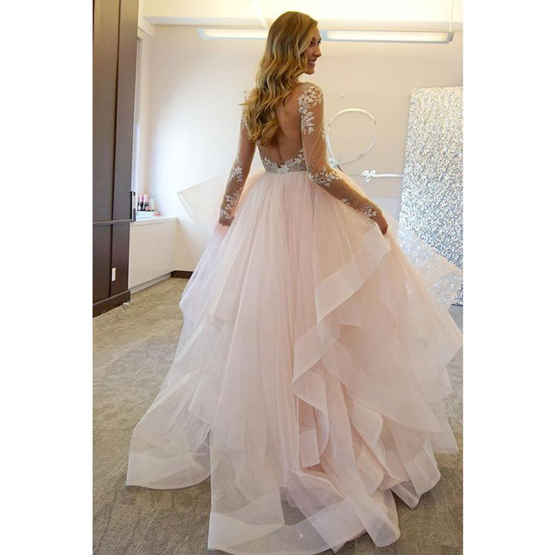 c95336977a3c6 Romantic Ball Gown Blush Wedding Dresses With Long Sleeves Sheer ...