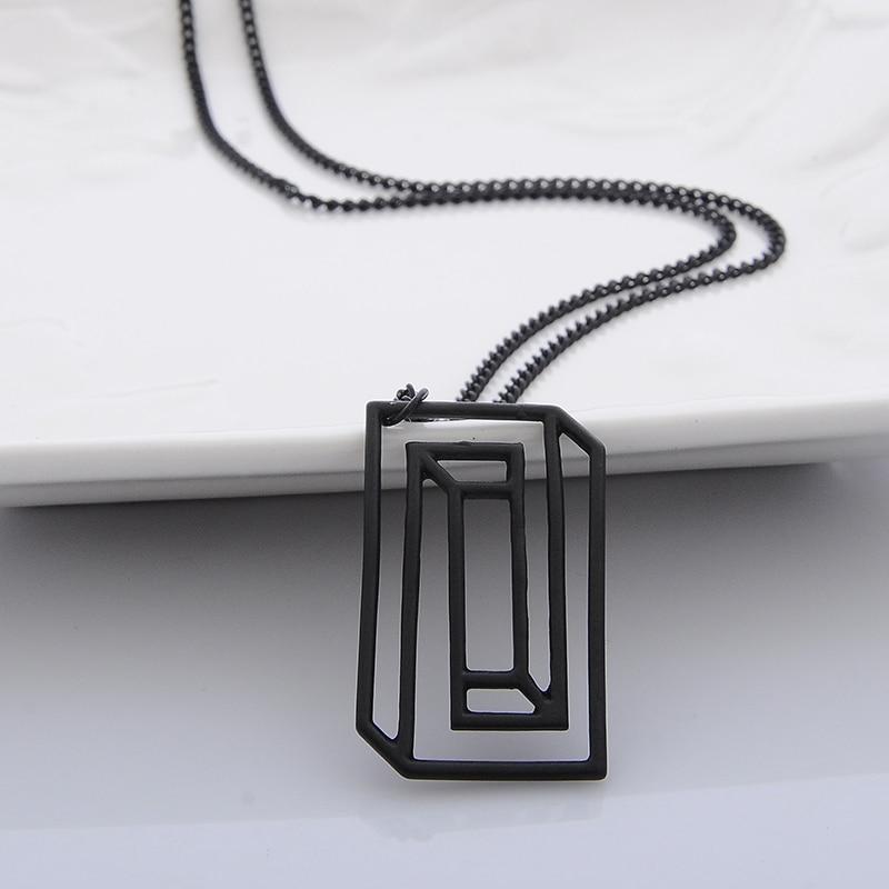 CONFINED SILHOUETTE NECKLACE Chemical Molecule Pendant Necklace Optical Illusion Pieces Designe For Men Women Black Gold Silver